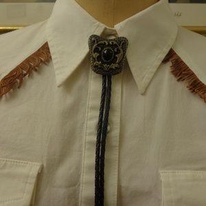Vintage Western Cowboy Bolo Tie Metal Buckle